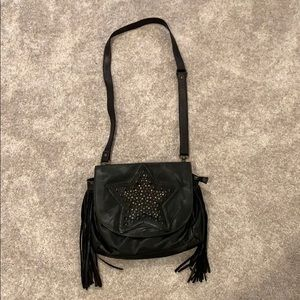 Black leather Fringe cross body with studs